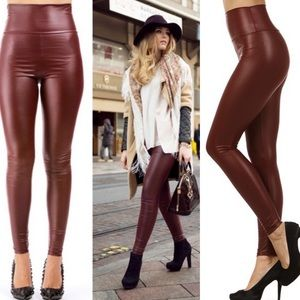 Pants - Wine🍷Ultra High Waist Vegan Leather Leggings